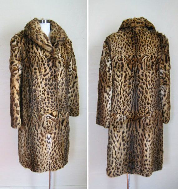 vintage fur coat of leopard or ocelot