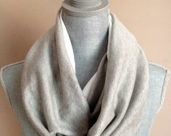 Infinity Scarf with Hidden Pocket - Reversible Knit Grey and White