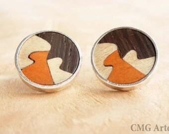 Round wood earrings, wood post earrings, wooden stud earrings, wooden earrings, silver earrings, wooden jewelry,jewelry women,casual jewelry