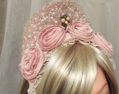 Beaded Headband, Pink Wedding Tiara, Quinceanera Soft Pink Tiara, Flower Girl Headband, OOAK