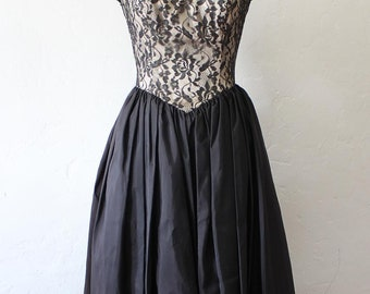 Lacy Party Dress - 1980's Strapless Satin and Lace Full Skirted party Dress by Gunne Sax