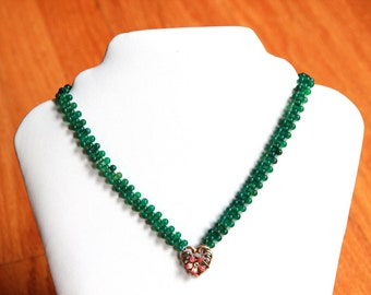 Blooming Heart Hand Woven Green Agate Necklace