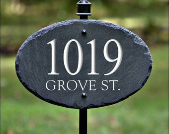 SLATE ADDRESS MARKER Sign ( Carved Numbers ) with Lawn / Yard Stake Plaque arrow #8CP