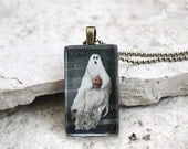 CLEARANCE~Primitive Halloween Ghost Photo Glass Tile Pendant Jewelry