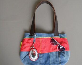 SALE repurposed blue jeans tote -  denim bag - leather straps - polka dots - repurposed shoulder bag - neon details