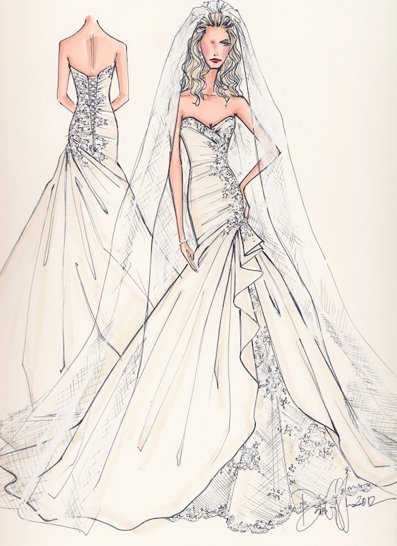 Items Similar To Custom Wedding Gown Illustration FRONT And BACK On Etsy