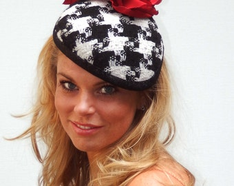 Dutch design houndstooth black and white minihat with handmade big flower on aliceband