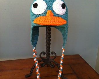Perry the Platypus Inspired Hat with Earflaps and Braids (You Choose Size Newborn - Adult)