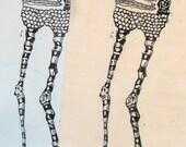 Baba Yaga Back Patch - Silkscreen Dark Fairytale Witch Print - Black and White Artwork