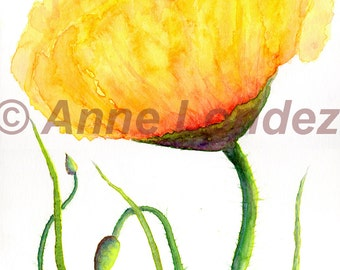 Fine Giclee print Yellow Poppy Art print Poppy Decor Poppy poster Yellow flower print Botanical art Floral wall art Anne Londez  SRA