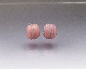 Handmade lampwork glass bead pair pink matte beads Cocoon pink and lavender Anne Londez SRA