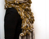 SALE///Rubeus Scarf in snapdragon, oatmeal and wood///Knit and Ready to Ship