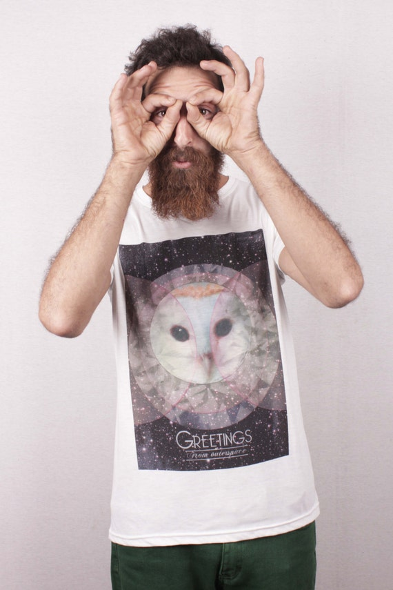 Free Shipping - Outerspace Owl print Tshirt, White Short Sleeve T-shirt Unisex / Men