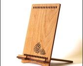Cherry Wood iPad Stand with Pine Cone, for iPad, New iPad, and iPad Mini