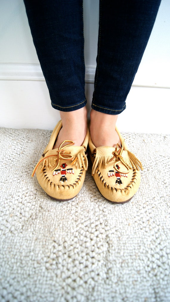 Vintage Moccasins. Women's Leather Loafers. 9.