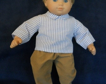 15 inch Doll Clothes American Girl Bitty Twin - Blue Seersucker Shirt and Pants
