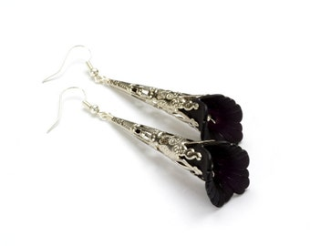 Gothic Earrings Gothic Jewelry Black Flower Earrings Silver Dangle Earrings Gothic Steampunk Jewelry By Victorian Curiosities