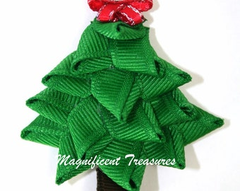 3D Christmas Tree Ribbon Sculpture Hair Clip or Pin