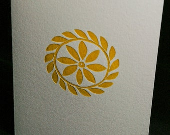 Six (6) Decorative Letterpress Notecards -- Hand-carved Detail (Yellow)
