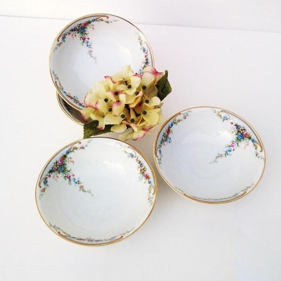 Antique Porcelain Cereal Bowls Selb Bavaria China Soup Bowls Paul Muller Blue Violet Orange Pink