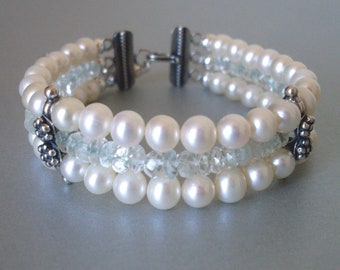 Pearl gemstone bracelet, pale blue Topaz and white freshwater pearl 3 strand bracelet. Sterling Silver. Something blue pearl bridal jewelry.