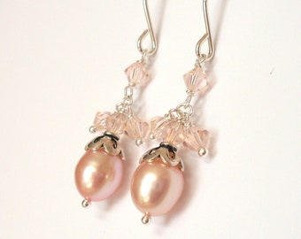 Peach pearl crystal earrings - freshwater pearl, Austrian crystal, pale peach bead dangle earrings, Sterling Silver, peach pearl jewelry