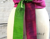 Magenta & Chartreuse Reversible Shantung Obi Sash