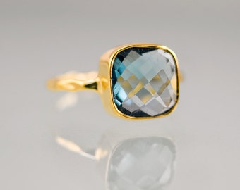 London Blue Topaz Stacking Ring - Bezel Ring -  Gemstone Ring- Gold Ring - December Birthstone