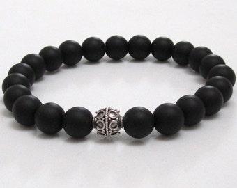 Black onyx gemstones beaded bracelet, mala beads chakra bracelet, anniversary birthday gift for couples, protection healing crystal bracelet
