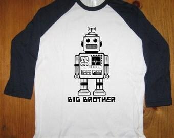 Big Brother Shirt - Big Brother T Shirt Boys Shirt - Raglan Tee Shirt - Robot Shirt - Sizes 8, 10, 12,  - Gift Friendly