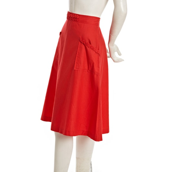 Red vintage A-line skirt with braided trim and side pockets -- size small