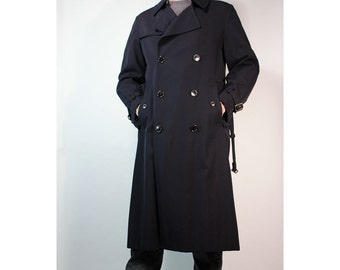 SALE Vintage Pierre BALMAIN double breasted navy wool mens trench coat