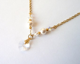 Flower Girl Pearl & Gold Necklace, Crystal Heart Necklace, Flower Girl Gift, Swarovski, Little Girl Jewelry, Kids Necklace, IVORY or WHITE