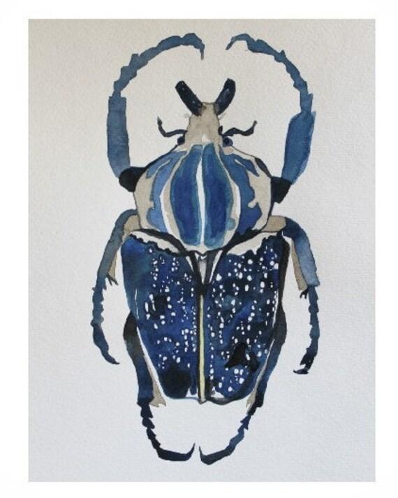 Indigo Beetle Original Watercolor Art