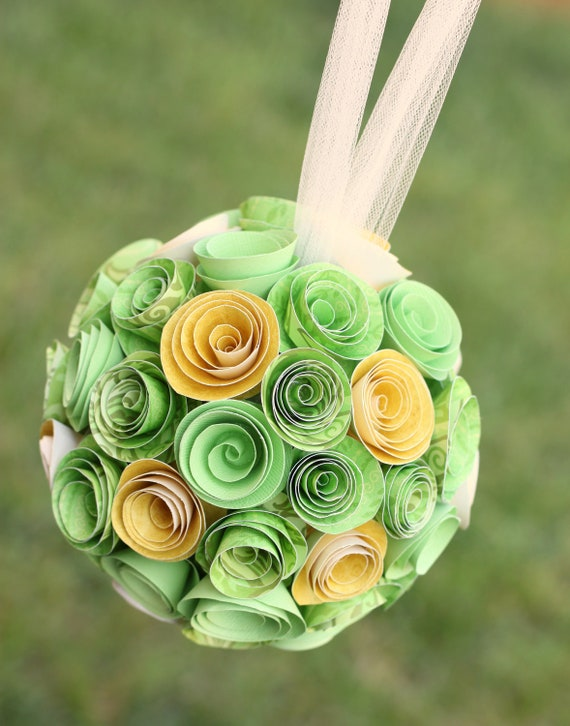 Green & Yellow Wedding Bouquet Paper Rosette Pomander Kissing Ball, Photography Prop, Bridesmaid Bouquet, Flower Girl Bouquet, Room Decor