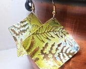 Metal Earrings Embossed Brass - Ferns in Green and Cream