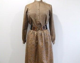 Silk Skirt & Shirt Set Vintage 70s Blouse / Full Skirt - L