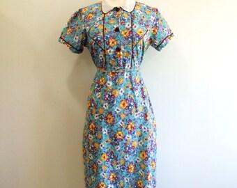 1940s Floral Dress Vintage 40s Blue Shirtwaist Dress - M