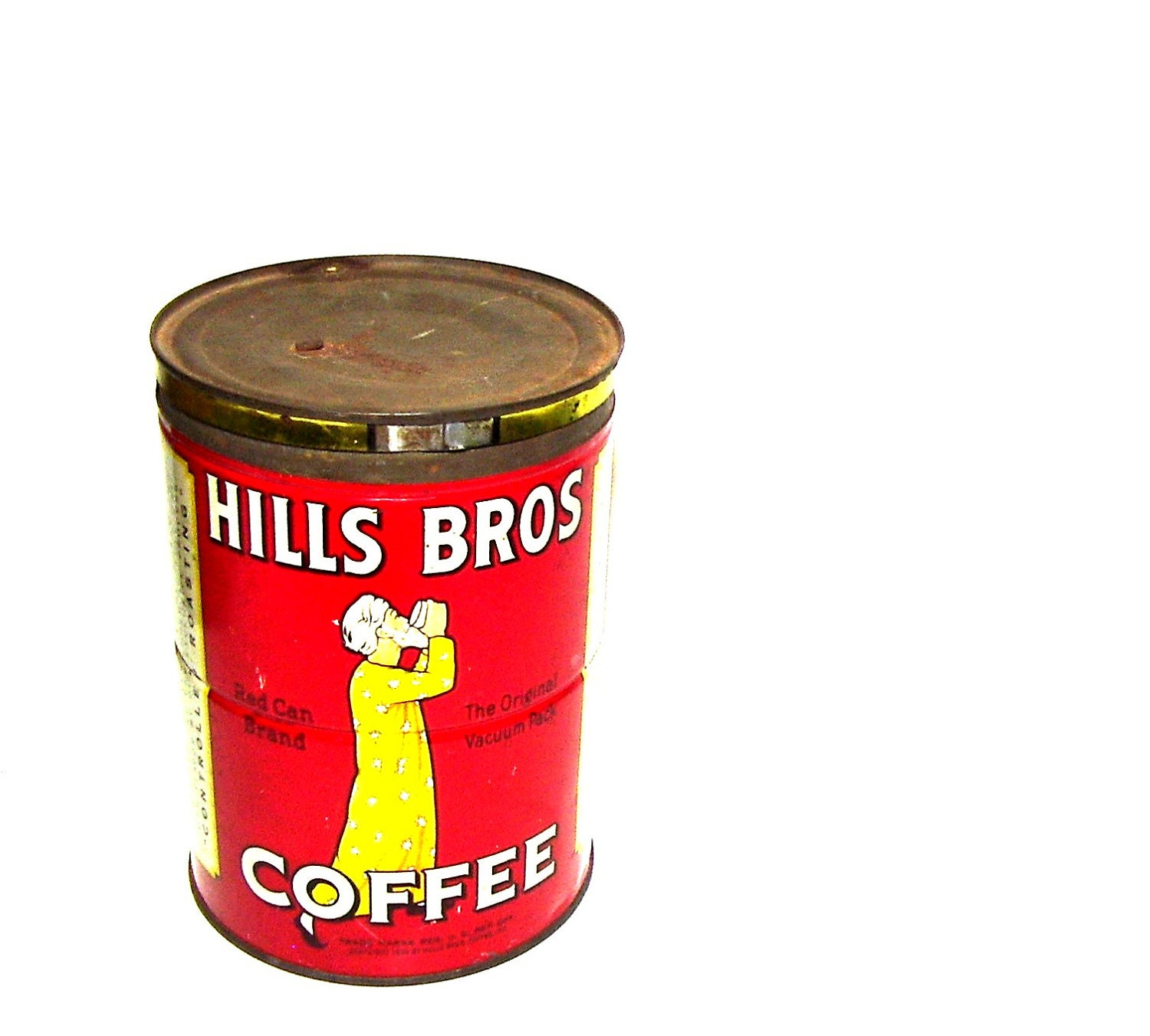 Americana Country Home Decor Vintage Coffee Can 1940s Hills Brothers Red Yellow Kitchen
