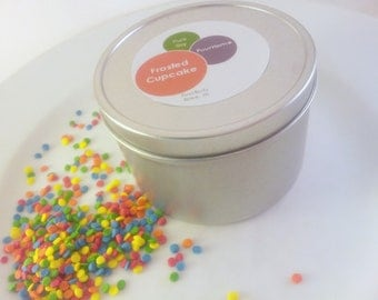 Frosted Cupcake Soy Candle Tin Eco Soya 8oz Tin VEGAN