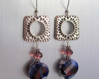 Square Hoop Dangle Earrings - Glass and Crystal Earrings - Navy Blue, Purple and White - Open Circle Squares - Navy Blue Beaded Earrings