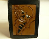 Leather wallet , Skull billfold , Mens cool wallet , Skull bifold wallet , gearhead wallet