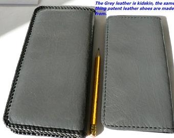 Luxury wallet , goatskin checkbook , gray ladies / mens wallet , patent leather wallet