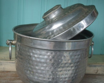 Hammered Aluminum Ice Bucket Made in Italy Barware SALE