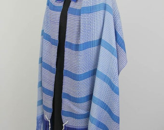Blue & White Tallit - Handwoven, Hand dyed, OOAK