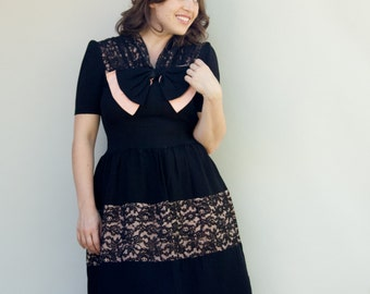 Vintage 1930's Dress - Charlotte De Louis - Black and Pink Thirties Rayon Party Dress with Lace and Big Bow