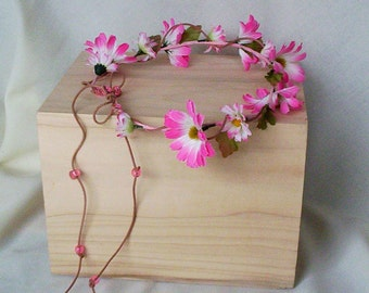 EDC Music Festival flower crown Valentine Day hair accessory Pink Electric daisy headwreath country twine bead tie hippie headband Rave