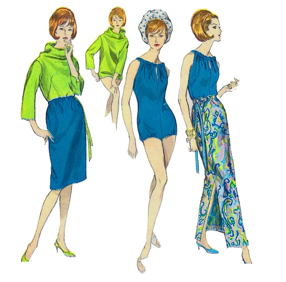 1960s One Piece Bathing Suit Pattern Vogue 6211 Misses Cowl Neck Blouse and Skirt in Two Lengths Womens Vintage Sewing Pattern Bust 34