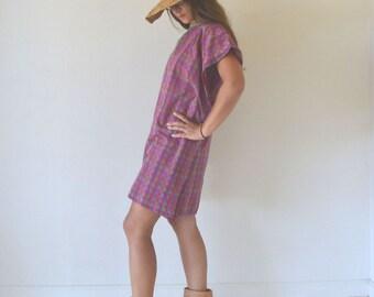 Tunic Poncho Dress 1970s Vintage Plum Pink Green Plaid Cotton Cover Up Medium