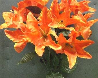Tanday Tangerine Orange  Casablanca Lily Silk Bush 3731